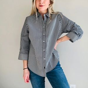 Chico's Cotton Easy Shirt Gingham 3/4 Sleeve Shirt